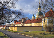 The Pilgrimage church of Virgin Mary of Victories in the evening. View of the Pilgrimage church of Virgin Mary of Victories in the spring evening. Prague, Czech Royalty Free Stock Image