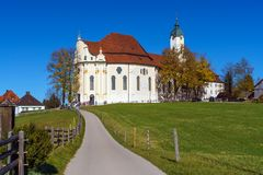 Pilgrimage Church of Wies Wieskirche in Alps, Bavaria, Germany Royalty Free Stock Photos