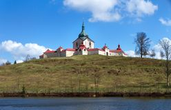 The pilgrimage Church at Zelena hora in Czech republic, UNESCO world heritage. The Pilgrimage Church of St. John of Nepomuk at Zelená hora is situated near stock photo