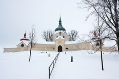 Pilgrimage church at Zelena Hora in winter, Zdar nad Sazavou, Czech Republic Royalty Free Stock Photo