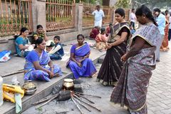 Pilgrimage Near Madurai Temple. Pilgrimages are cooking near the Meenakshi temple at Madurai Stock Images