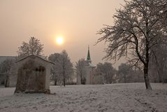 Pilgrimage place by winter morning Royalty Free Stock Photography