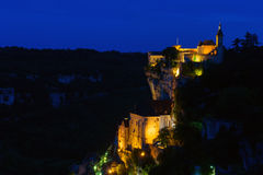 Pilgrimage village rocamadour by night Stock Photo