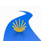 Pilgrimage. A yellow shell as a symbol for pilgrimage Royalty Free Stock Photos
