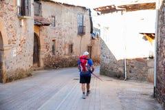 Pilgrimn a lo largo del camino de San Jaime Fotografía de archivo