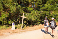 Pilgrimns along the way of St. James Stock Images