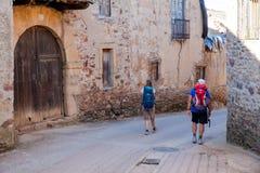 Pilgrimns ao longo do caminho de St James Fotos de Stock