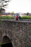 Pilgrimns op de steenbrug langs de manier van St James Stock Foto's