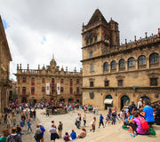 Pilgrimns and tourists next to the Santiago cathedral Stock Images