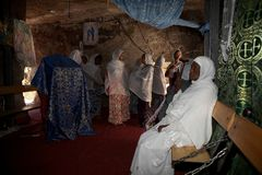 Pilgrims at the Adadi Maryam church Ethiopia Royalty Free Stock Image