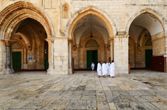 Pilgrims at Al Aqsa. Muslim pilgrims infront of Al Aqsa Mosque in Jerusalem, Israel. Al Aqsa is the 3rd holiest site in Islam Stock Images