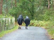 Pilgrims along the way of St. James. People walking on Camino de Santiago. royalty free stock image