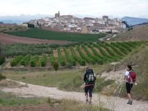 Pilgrims along the way of St. James. People walking on Camino de Santiago. royalty free stock image