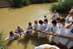 Pilgrims at the Baptism Site Qasr el Yahud Stock Photo