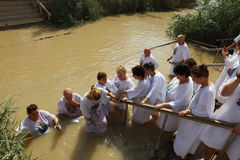 Pilgrims at the Baptism Site Qasr el Yahud Royalty Free Stock Images