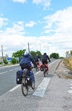 Pilgrims on bicycle in the Camino de Santiago, Via de la Plata, Spain Stock Images