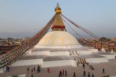 Pilgrims at Boudhanath Stupa in Kathmandu, Nepal Royalty Free Stock Photos