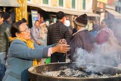 Pilgrims at Boudhanath Stupa in Kathmandu, Nepal Stock Photography