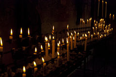 Pilgrims candles. At the chapel of andechs, bavaria, germany Royalty Free Stock Photo