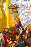 Pilgrims carrying his deity god at Thaipusam Royalty Free Stock Photos