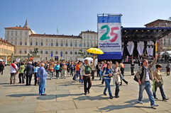 Pilgrims in the Castle square in Turin Royalty Free Stock Photos
