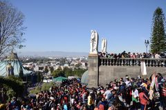 Mexico City, Mexico-December 10, 2017:Pilgrims Celebrate The Festivities at the Basilica of Guadalupe. Pilgrims Celebrate The Festivities at the Basilica of Stock Photography