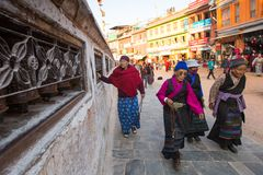 Pilgrims circle stupa Boudhanath, in Kathmandu, Nepal. Ancient Stupa is one of the largest in the world Royalty Free Stock Photo