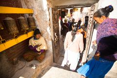 Pilgrims circle stupa Boudhanath, in Kathmandu, Nepal. Stock Images