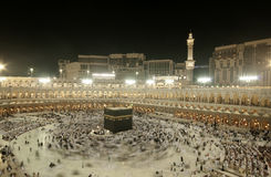 Pilgrims circumambulate the Kaaba. At Masjidil Haram in Makkah, Saudi Arabia. Muslims all around the world face the Kaaba during prayer time Royalty Free Stock Images