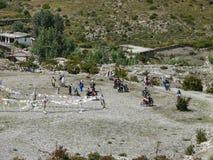 Pilgrims come to Muktinath temple on motorbikes, Nepal Stock Photos