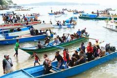 Pilgrims coming from Mansinam royalty free stock photos