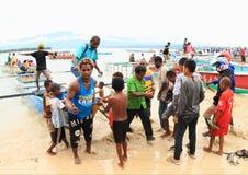 Pilgrims comming from Mansinam Stock Photo