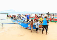 Pilgrims comming from Mansinam Royalty Free Stock Photography