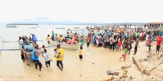 Pilgrims comming from Mansinam Royalty Free Stock Image