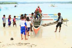 Pilgrims comming to Mansinam Stock Images