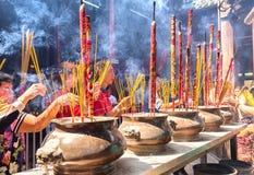Pilgrims copper incense burner temple in spring Stock Image