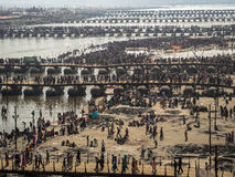 Pilgrims Crossing the Pontoon Bridges at Kumbh Mela 2013 Stock Photography