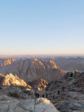 Pilgrims descend from the mountain of Moses. Egypt, the Sinai Peninsula Stock Image