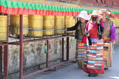 Pilgrims at Drepung Monastery, Tibet Stock Photography