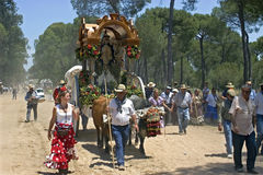 Pilgrims on dusty forest path, El Rocio, Andalusia Stock Photos