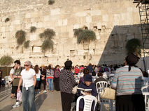 Pilgrims on a female half at the Wailing Wall in Jerusalem, Isra Royalty Free Stock Photo