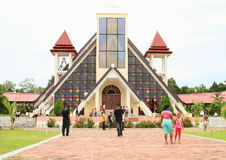 Pilgrims in front of church on Mansinam island Royalty Free Stock Images