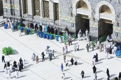 Pilgrims at The Gate of Al Haram of Al Kaaba. In Mecca, Saudi Arabia royalty free stock photo