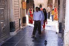 Pilgrims going through main gate of Karni Mata Temple, Deshnok, Royalty Free Stock Photography