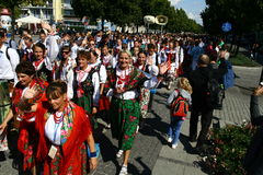 Pilgrims going to Mother Mary Sanctuary in Czestochowa. Poland. Dressed in traditional clothing originated from the Polish mountains Stock Images