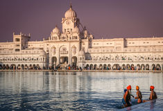 Pilgrims at the Golden Temple in India. Sikh pilgrims taking holy bath in the reservoir in the front of the Golden Temple in Amritsar in India royalty free stock photo