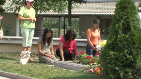 Pilgrims at the grave of Vanga in Rupite, Bulgaria stock footage