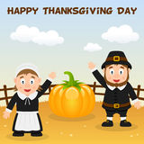 Pilgrims Happy Thanksgiving Day Card Stock Photos