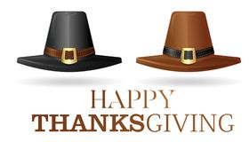 Pilgrims hat set. Black and brown pilgrim hat. Collection hats of the first settlers. Happy Thanksgiving. Vector illustration isolated on white background Royalty Free Stock Photo