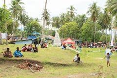 Pilgrims having rest on Mansinam Stock Photos